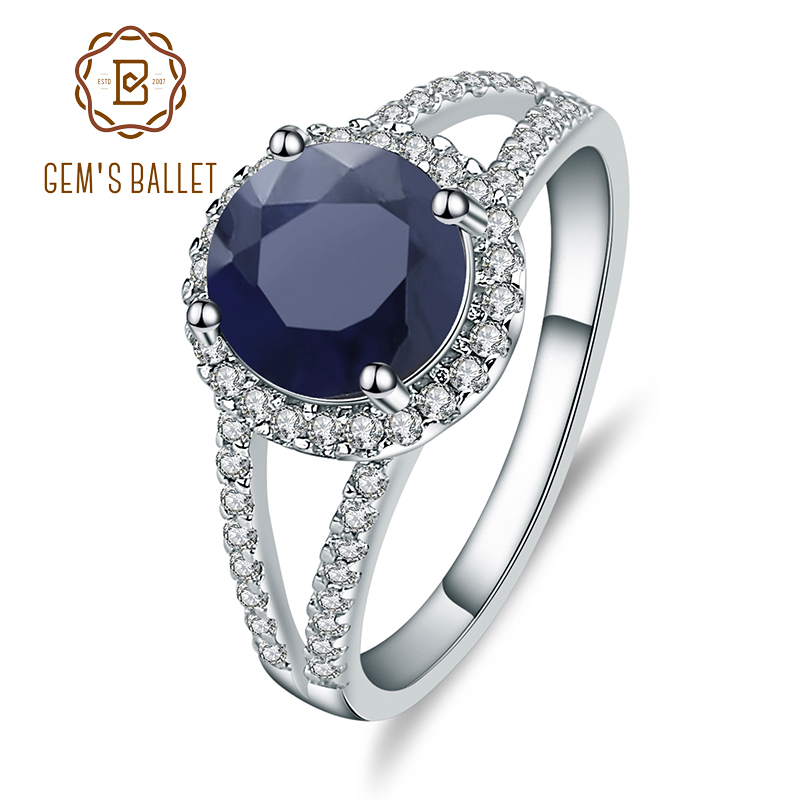 GEM'S BALLET 2.58Ct Round Natural Blue Sapphire Gemstone Cocktail Rings 925 Sterling Silver Fine Jewelry for Women