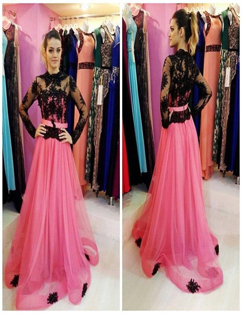 Vestido De Fiesta Largo Negro Y Rosa Vestidos de Baile Tren de la ...