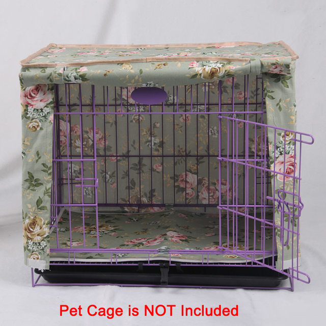 Pet Crate Cover Lightproof and Windproof Flower Print Striped Canvas Material Dog Kennel Cage Cover Send Mat Without Cage