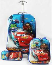 Promotion  cartoon boyS spinner luggage sets (lunch box + pen boxes+trolley luggage )  Cars  Color Focus kids trolley suitcase