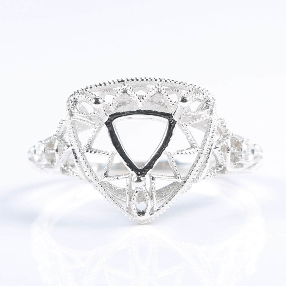 Solid 14k White Gold Natural Diamonds Engagement Wedding Ring Filligree 6x6mm Trillion Cut Semi Mount Jewelry Setting Vintage