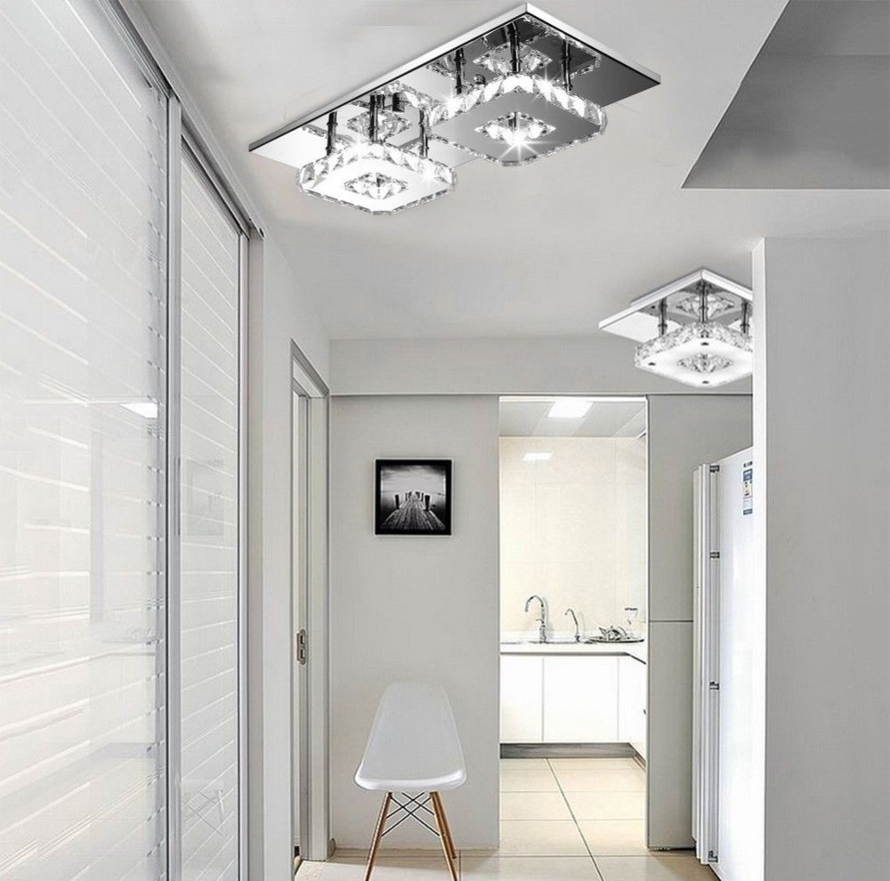 Modern K9 Crystal LED Ceiling Pendant Lamp 2 Head Cool White Chandelier Lights Size:45*21*9cm 110-240v modern k9 crystal led ceiling pendant lamp 2 head cool white chandelier lights size 45 21 9cm