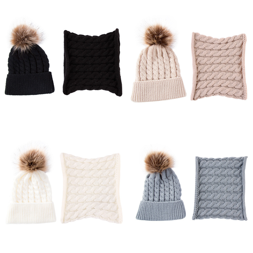 2Pcs Girls Boys Cap+Scarf Set Toddler Baby Winter Warm Fur Ball Hats O Ring Scarves Kids Knitted Beanie Cap+Scarf Keep Warm Set 2
