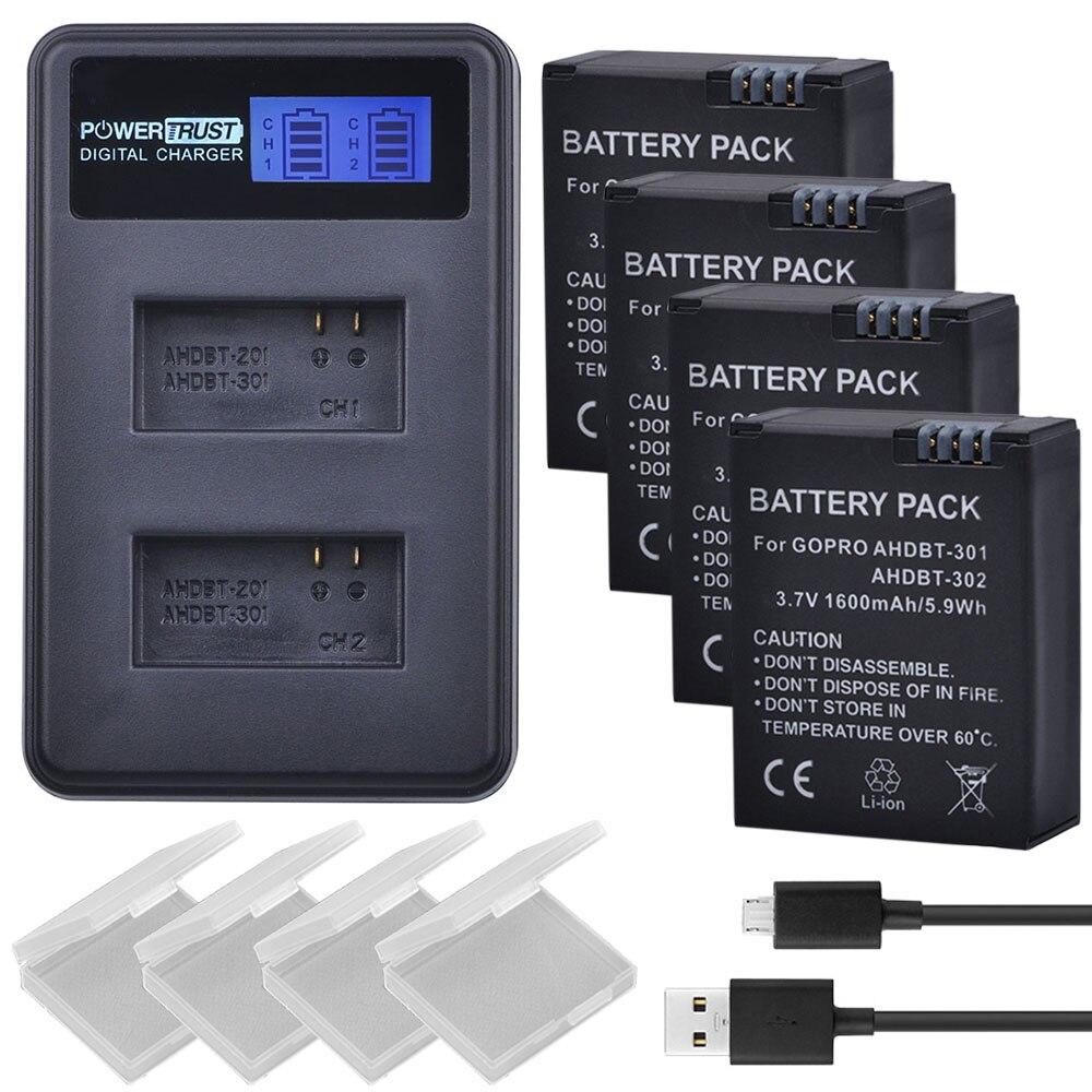 4 Pcs 3.7 V 1600 mAh AHDBT-301 GoPro Hero3 AHDBT301 AHDBT 301 Li-ion caméra Batterie + LCD USB Double Chargeur pour Gopro Hero 3/3 +