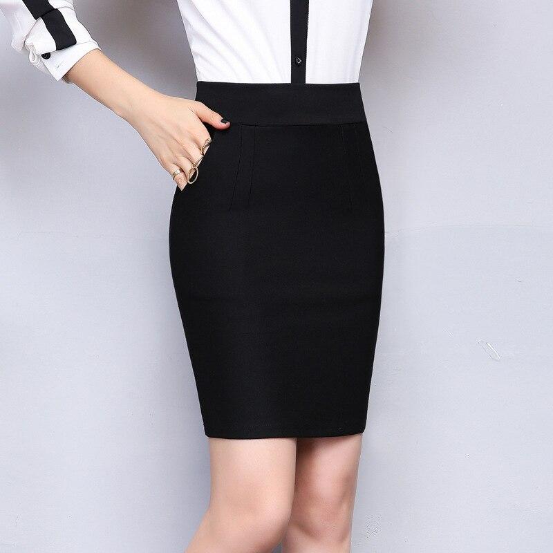 2017 Autumn & winter Women Office Skirt Slim Sexy Solid Color Pocket Elastic High Waist Pencil Skirt Plus Size Black Mini Skirt