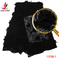 Best Selling French 3D lace Applique Nigerian lace fabric 2017 High Quality Lace With Lots of Hand Beads For Wedding AMY1378B 1