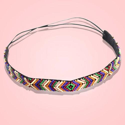 Hot Selling Colorful Ethnic Style Seedbead Headband Elastic Hairband Party Hair Accessary