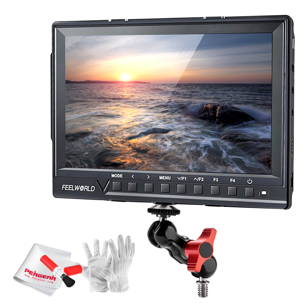 Feelworld FW760 Full HD 1920x1280 7 inch Camera Video IPS Filed Monitor HDMI Peaking Focus Assis with Magic Arm Mount Adapter
