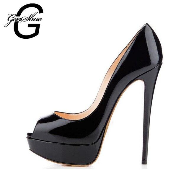 Genshuo 14 Cm Heels Marke Schuhe Frauen Plattform High Heels Pumps