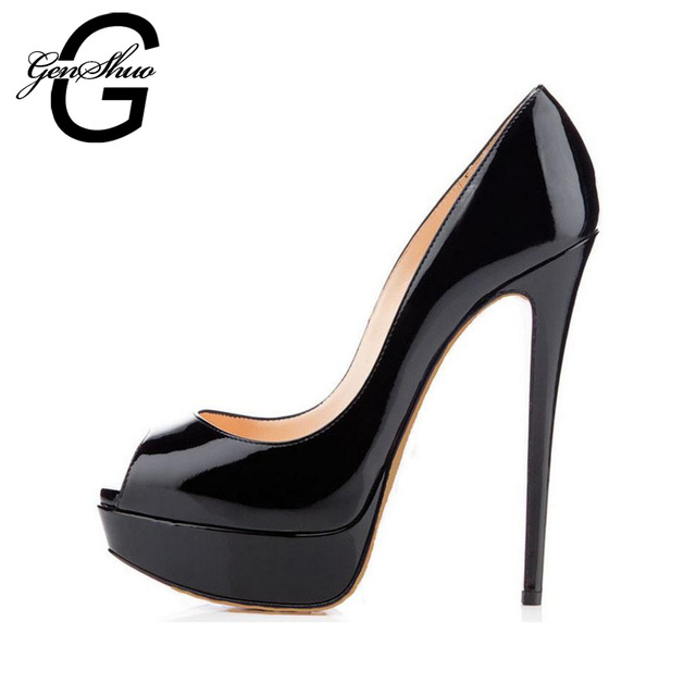 GENSHUO 14CM Heels Brand Shoes Women Platform High Heels Pumps Peep Toe Leather Red Wedding Shoes High Heels Big Size 4243 44 45