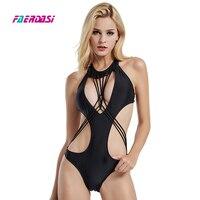 Faerdasi Women Bandage One Piece Swimsuit High Cut Swimwear Black Bandeau Bathing Suit Sexy Beachwear One