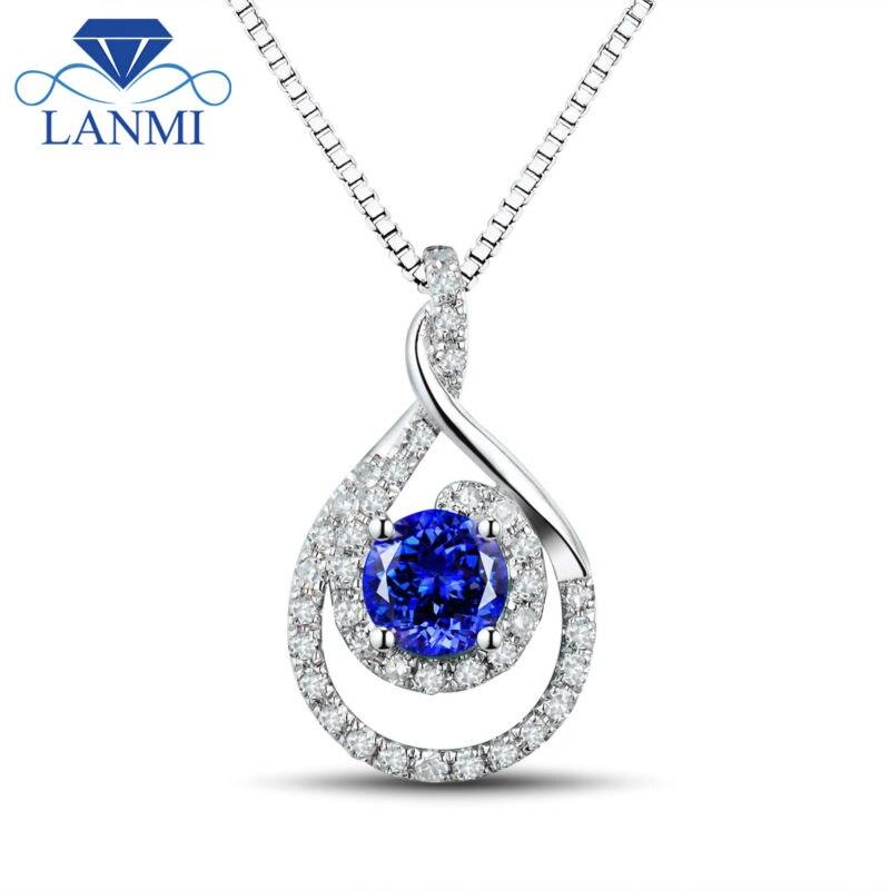 AAA Natural Tanzanite Liontin Putaran 5mm Batu Alam 18 K Emas Putih, - Perhiasan bagus