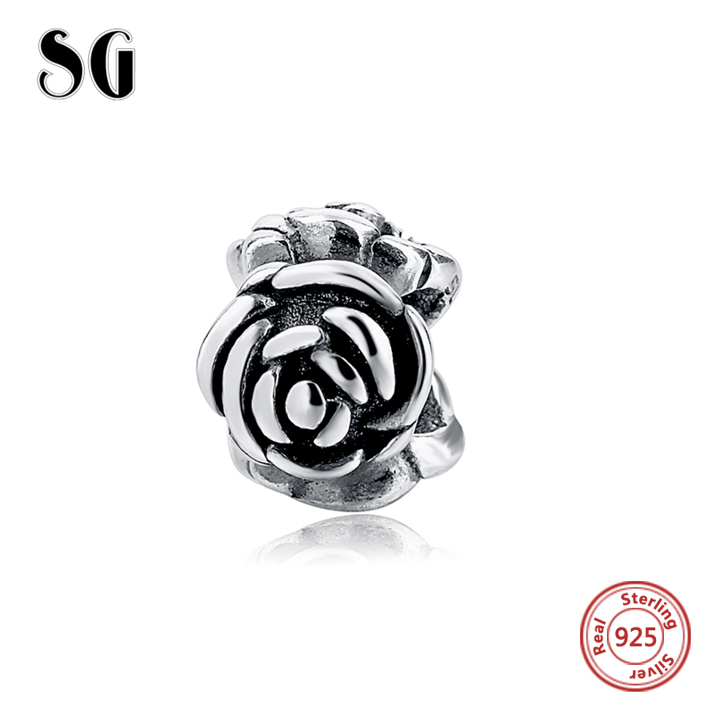 Fit Authentic pandora charms silver 925 original Plain rose Heart Collect beads Antique Bead Pendant Jewelry Gift free shipping