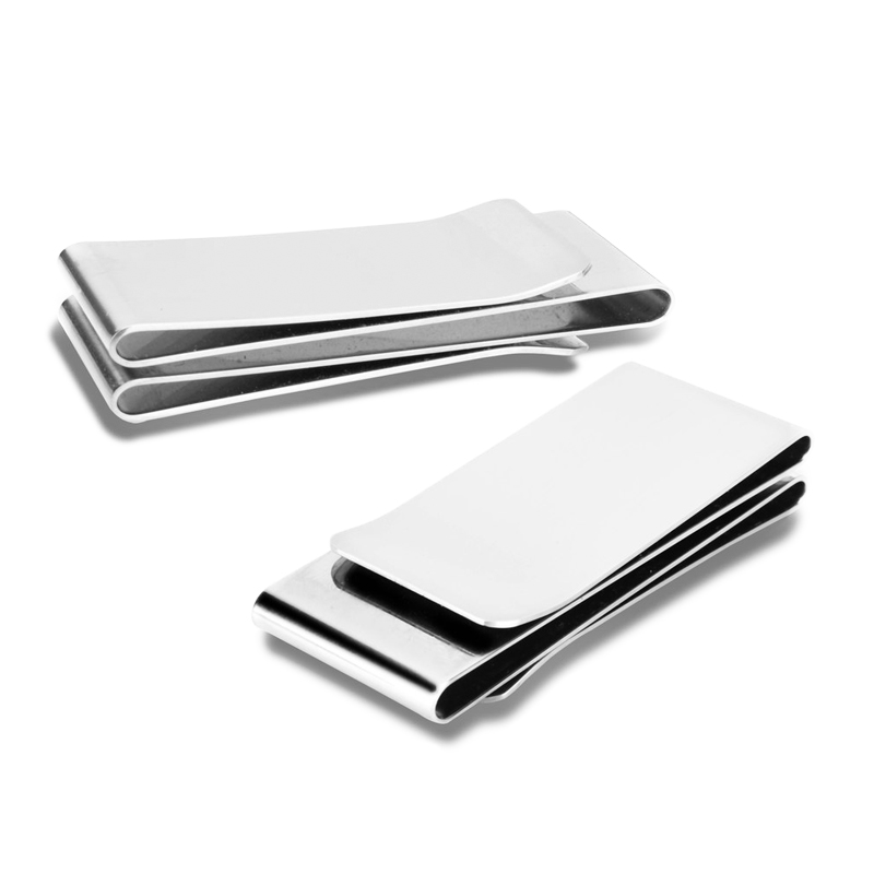 Sided Cash Holder Dollar Card Credit Stainless Steel Slim Wallet Money Clip