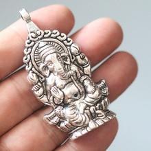 2pcs Ganesha Buddha Elephant Pendant Charms For Fashion Jewelry Making Necklace Bracelets Keychain Silver Retro Accessories