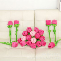 30cm 40cm 크리 에이 티브 1pcs 장미 꽃다발 꽃 커튼 버클 플러시 장난감 DIY 홈 웨딩 장식 어린이 선물