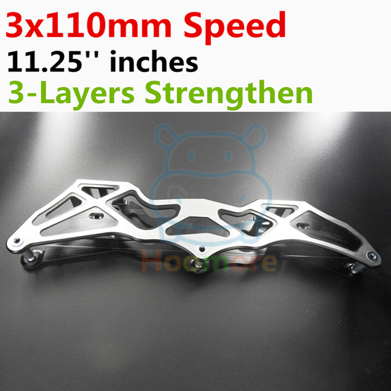 3X110mm Slalom Convert to Inline Speed Skates Frame with 11.25''  3 Layers 110mm Wheels Racing Patines Basin Base 150mm to 180mm 7005 aluminium alloy dual mode transformer inline speed skate frame 4x90mm