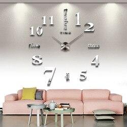 3d luminoso real grande relógio de parede apressado espelho adesivo de parede diy sala estar decoração da sua casa relógios moda quartzo grandes relógios 4