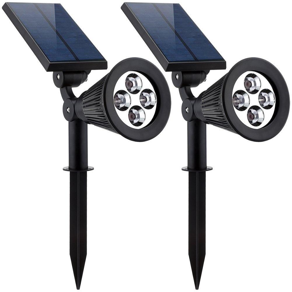 2PCS Solar Lamp 4LEDs RGB Solar Spotlight Color Changeable IP44 Waterproof Outdoor Garden Landscape Yard Decoration Light