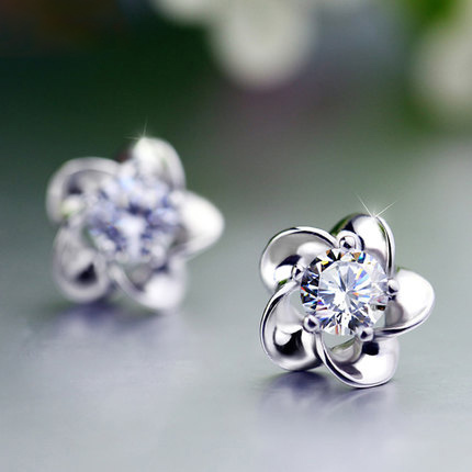 2016 Fashion earrings Jewelry Of Silver Flower Zircon stud earrings 925 Sterling Silver Jewelry For Women