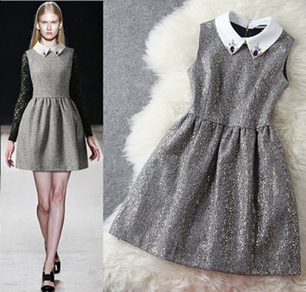5cd4cbbec3 ... Print Off The Shoulder Vintage Dress  release date 9585b d38be Top  Quality Women AutumnWinter Vintage Noble Peter Pan Collar With Diamond  Beaded ...