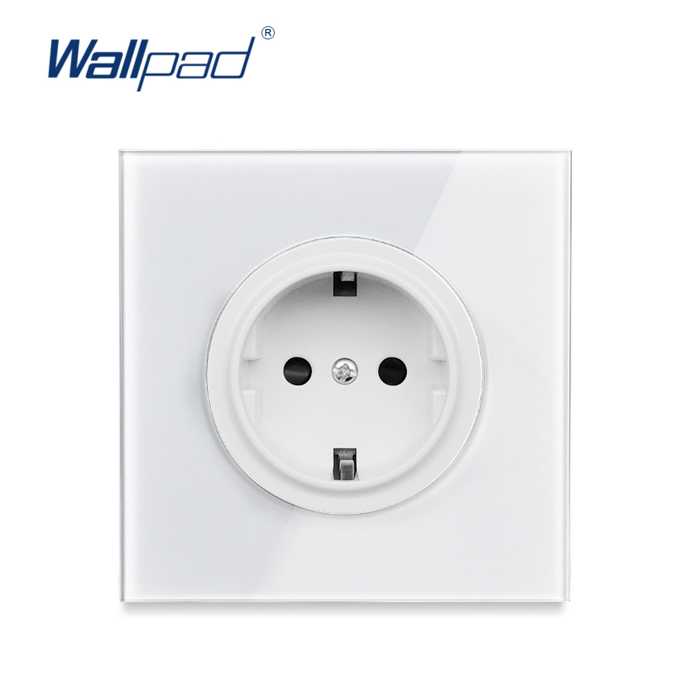 Wallpad 2019 New Arrival Crystal Glass Panel 16A EU Standard Wall Power Socket Outlet Grounded With Child Protective Lock