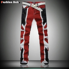 Men's Union Jack Print Pocket Brand Designer Jeans Pant Slim Casual Fashion Quality Straight Night Club British Flag Pencil Pant