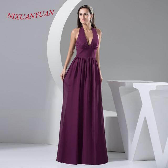 6ba711a93 Nixuanyuan gasa púrpura vestido de noche 2017 largo Halter una línea de vestidos  formales 2017 vestido