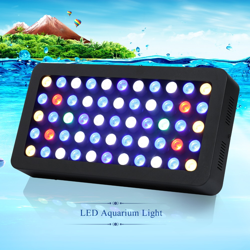 populargrow 2pcs/lot 165w Dimmable Led Aquarium Light a best Full Spectrum leds lamp for Reef Coral Fish Tank Lighting