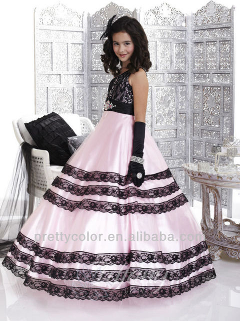 US $95.0 |Ball Gown One Shoulder Plus Size Special Occasion Dresses Girls  Pageant Cupcake Dress Lace Edge Pink And Black Floor Length-in Flower Girl  ...