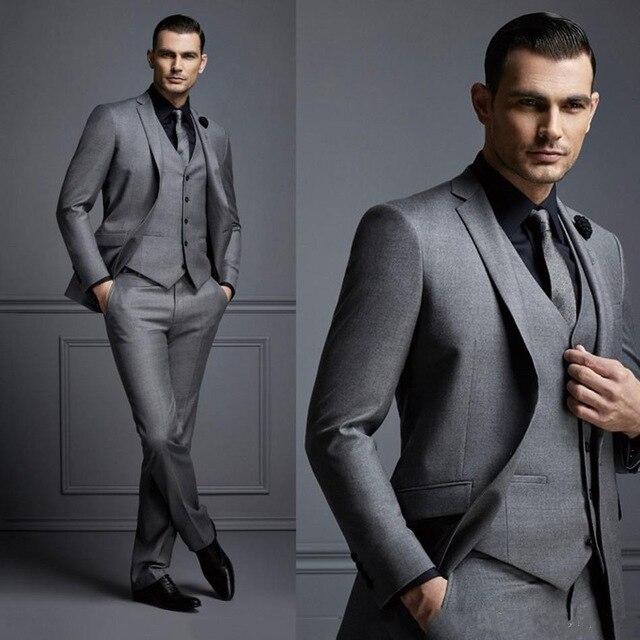 Новый модный красивый темно серый мужской костюм, костюм жениха, свадебные костюмы для лучших мужчин, приталенный смокинг жениха для мужчин (пиджак + жилет + брюки)