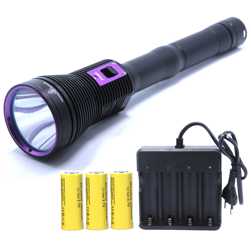 Светодио дный Дайвинг фонарик MTG2 5000 LM фонарик linternas подводный Водонепроницаемый лампы факел и 3*26650 Батарея и 4-слоты Зарядное устройство