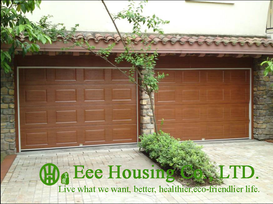 Wood Color Remote Control Galvanized Steel Garage Door With Sandwich Panel Panel, Garage Door Factory In China