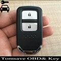 Para o novo honda fit vezel xrv tamanho original 2 botões inteligente remoto chave 433 mhz com chip de id47 remoto completo chave