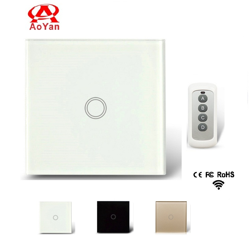 Aoyan EU Standard Remote Switch, 1 Gang 1 Way Toughened Crystal Glass Switch Panel,110-250V Screen Wall Remote Touch Switch