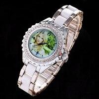 Diamonds Quartz Watch Lover S Watches Photo Printed Dial Picture Print DIY Wristwatch Customized Clock Unique