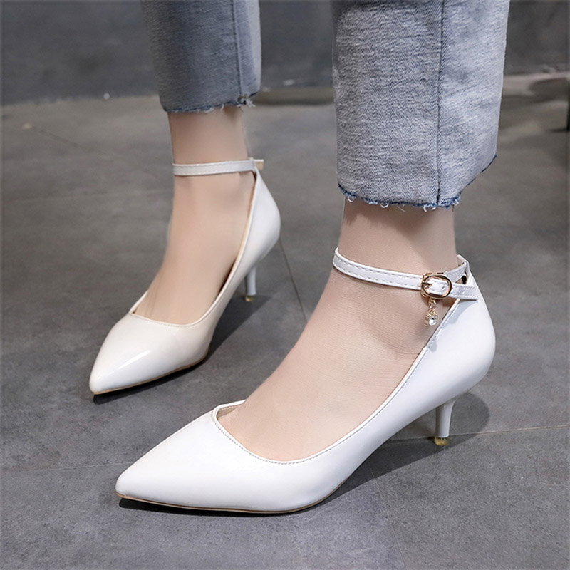 Wedding Bridal Heels: Women Wedding Shoes Ol Office Medium Heels Ankle Strap