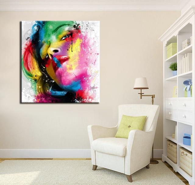 Bunte Ölgemälde, Schöne Frau Portrait Poster Moderne Leinwand Wandkunst Für  Wohnzimmer Decor Gemälde Angepasst