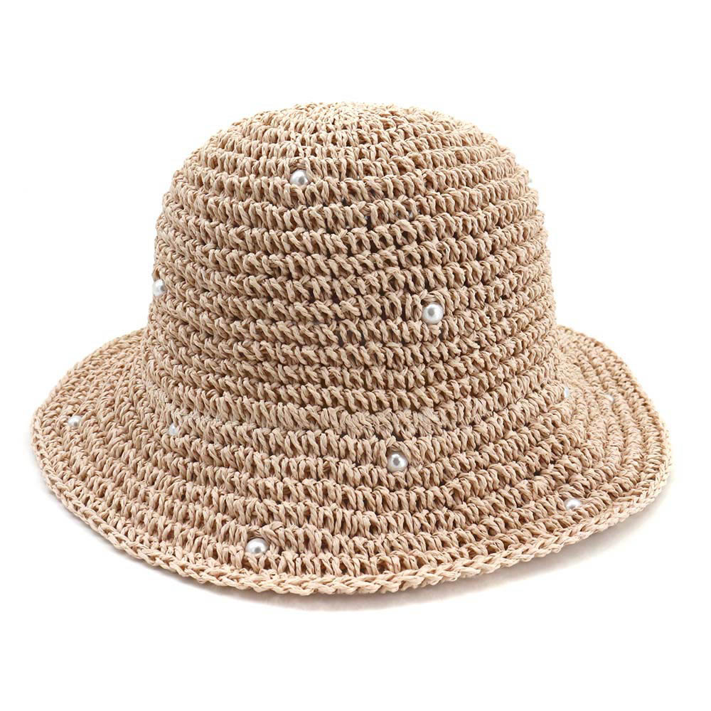 Spring Summer Pearl Straw Hat Women Dome Sun Hats Cap Casual Outdoor Bucket Hat for Lady Fisherman Visor Hat Travel Headwear in Women 39 s Bucket Hats from Apparel Accessories