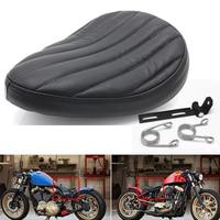 Black Leather Solo Seat Cover + 3 Spring Bracket Mount Kit For Harley Sportster Softail Dyna Chopper Bobber Custom