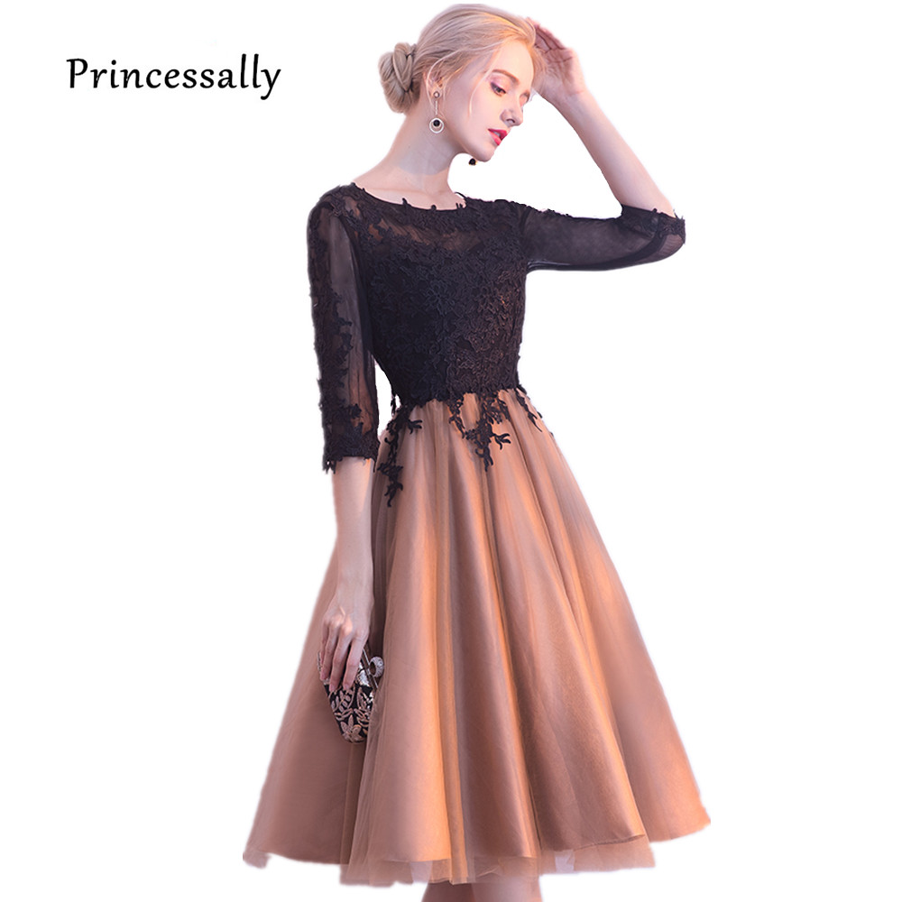 Robe Do Soriee New Cocktail Dress Contrast Color Lace Top Half Sleeve Fashion Homecoming Graduation Birthday Prom Party Gown cocktail dress