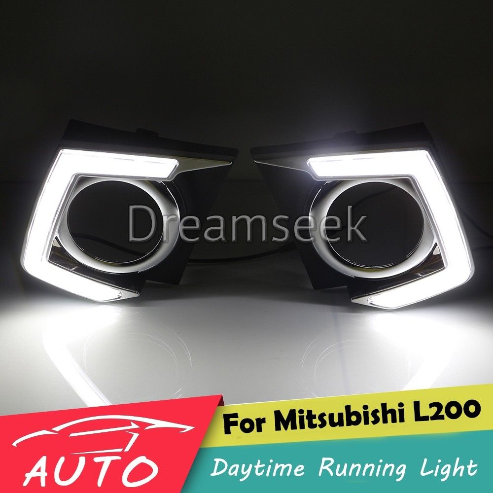 DRL For Mitsubishi L200 Triton 2015 2016 LED Car Daytime Running Light Relay Waterproof Driving Fog Day Lamp Daylight