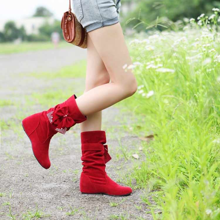Big size 50 Fashion mid-calf Boots Vintage Brand Low Heels Spring Shoes Autumn Winter Boot for Women Shoes Snow Boots Shoe 608-1