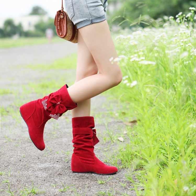 Big size 50 Fashion mid kuit Laarzen Vintage Merk Lage Hakken Lente schoenen Herfst Winter Boot voor Vrouwen Schoenen Snowboots Schoen 608-1