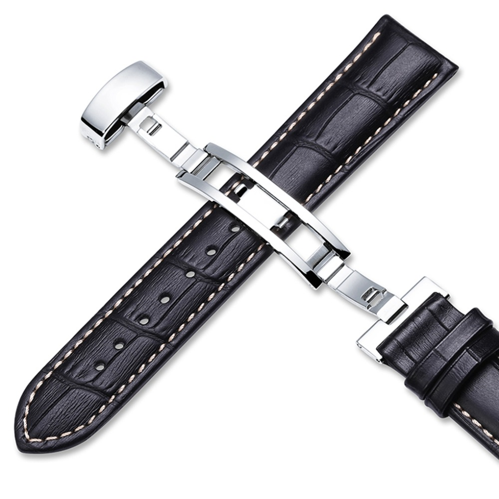 Image 2 - 18mm 19mm 20mm 21mm 22mm Genuine Leather Watchband Alligator Grain Pull Deployment Clasp Watch Band Strap For Omega Tissot Oris-in Watchbands from Watches
