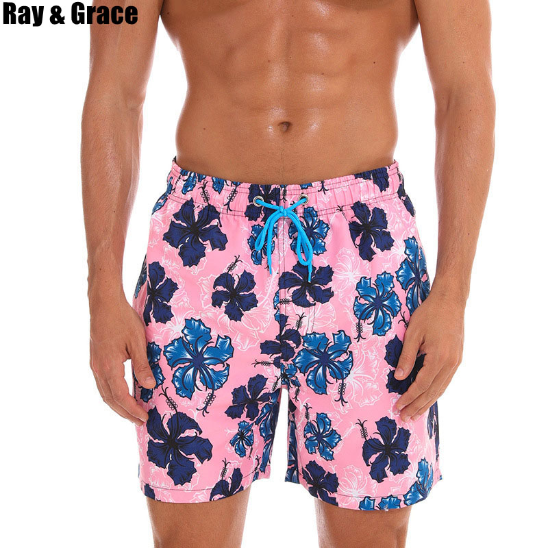 RAY GRACE Print Summer Mens Beach Board Shorts Surf Siwmwear Bermudas Quick Dry Running Swim For Men Athletic Mens Gym Shorts