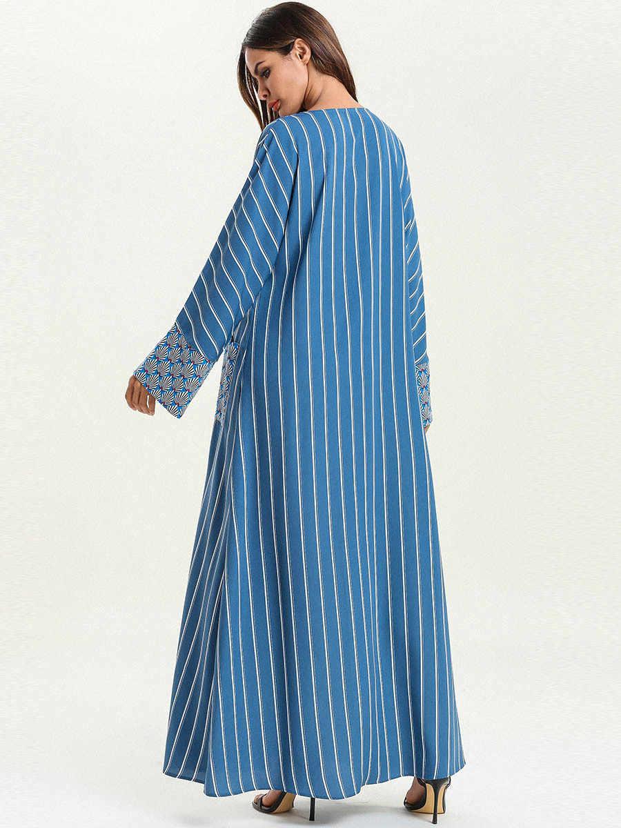 Одежда для женщин мусульманских стран Дубай мусульманское длинное платье для девочки Турция Малайзия турецкий кафтан исламский плюс размер одежда 4XL полосатый длинный рукав халат