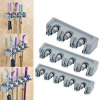 5/4/3 posición soporte para mopa cocina organizador de gancho para cepillos escoba Rack de almacenamiento de mopa para el hogar gancho para cepillos utensilios de cocina