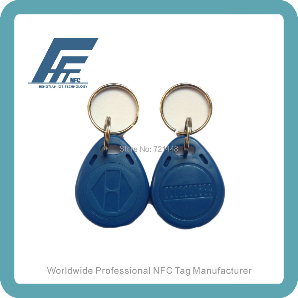 100pcs Ntag213 NFC Keyfobs Blue keychain Available For All NFC Phone Waterproof RFID ABS keyfob tags