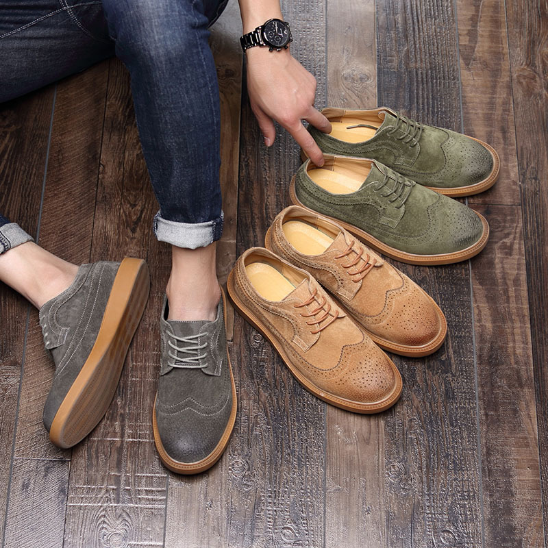 New British Style Casual Brogues Shoes Lazy Genuine Leather Driving Men Oxfords Fashion Brand Dress Shoes Man Male Adult Loafers